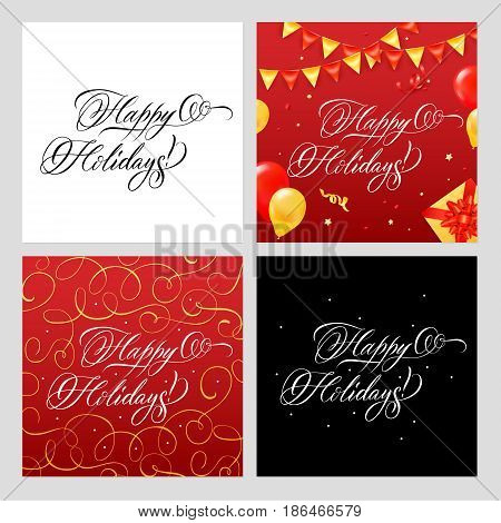 Happy holidays lettering calligraphic banners collection of four square backgrounds with ornate text and decorative pattern vector illustration