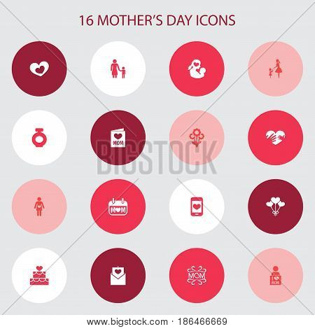 Mothers Day Icon Design Concept. Set Of 16 Such Elements As Mam, Cellphone And Letter. Beautiful Symbols For Fragrance, Envelope And Newborn.