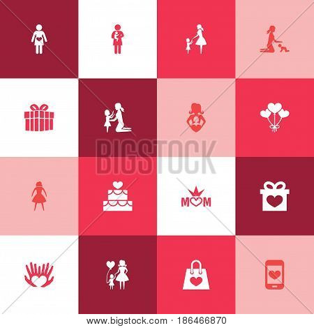 Mothers Day Icon Design Concept. Set Of 16 Such Elements As Newborn Baby, Package And Mom. Beautiful Symbols For Queen, Screen And Daughter.