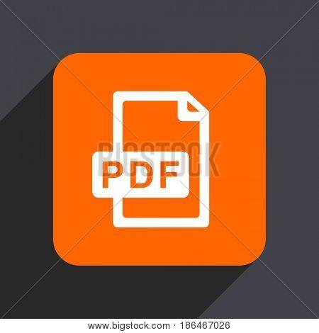 Pdf file orange flat design web icon isolated on gray background