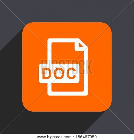 Doc file orange flat design web icon isolated on gray background