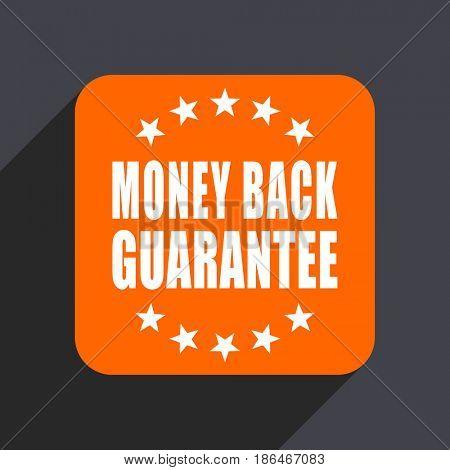 Money back guarantee orange flat design web icon isolated on gray background