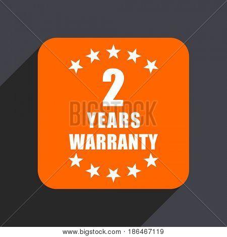 Warranty guarantee 2 year orange flat design web icon isolated on gray background