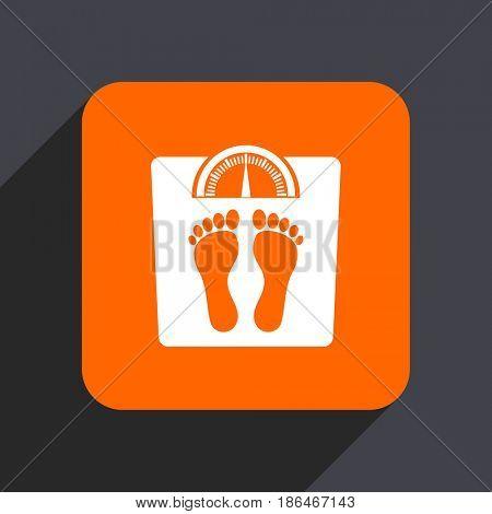 Weight orange flat design web icon isolated on gray background