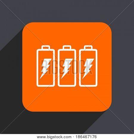 Battery orange flat design web icon isolated on gray background