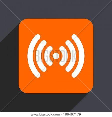 Wifi orange flat design web icon isolated on gray background