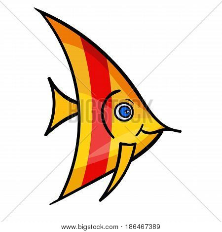 One bright yellow fish with red stripe.Isolated on a white background.A marine animal with eye swims and smiles. Beautiful funny cartoon character.Cute vector illustration for children.sea life