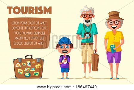 Old couple and grandchild in travel. Journey of grandparents. Cartoon vector illustration. Character design on senior age travelers. Family having summer holidays trip. Elderly people ready for sightseeing tour. For banners and posters. Travelling togethe