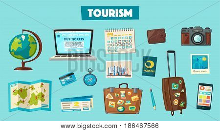 Travel collection. Vacation theme. Cartoon vector illustration. Ready for summer. Preparing for journey. Set of object