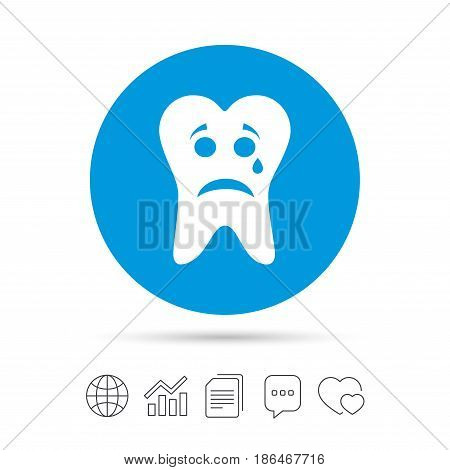 Tooth sad face with tear sign icon. Aching tooth symbol. Unhealthy teeth. Copy files, chat speech bubble and chart web icons. Vector