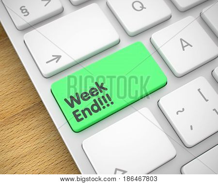 Business Concept: Week End on the Aluminum Keyboard Background. Business Concept: Week End on Modern Keyboard lying on the Wood Background. 3D Illustration.