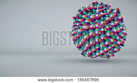 Colorful cubes making up the sphere. 3d rendering