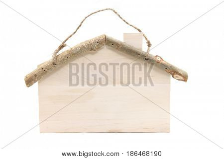 blank house shape wooden sign with rope