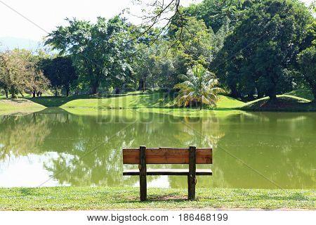 wodden chair at lake garden at taiping malaysia