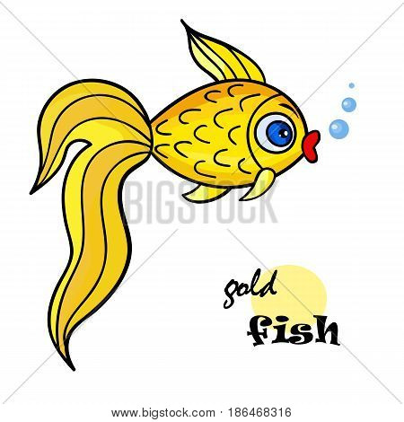 One bright goldfish with bubble.Isolated on a white background. Beautiful funny cartoon character.Cute vector illustration for children.marine life
