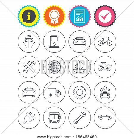 Report, information and award signs. Transport and services icons. Ship, car and public bus, taxi. Repair hammer and wrench key, wheel and cogwheel. Sailboat and bicycle. Check tick symbol. Vector