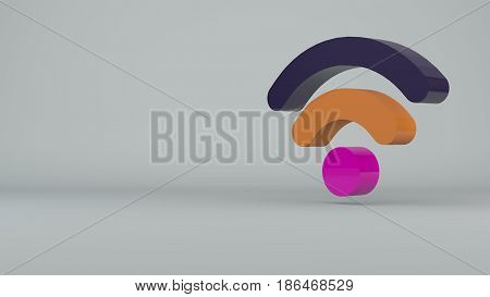 Wi-Fi Wireless Internet Icon. Technology backdrop. 3d rendering