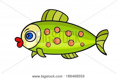 One bright fish with bubble.Isolated on a white background. Beautiful funny cartoon character.Cute vector illustration for children.A marine animal with eye swims.sea life