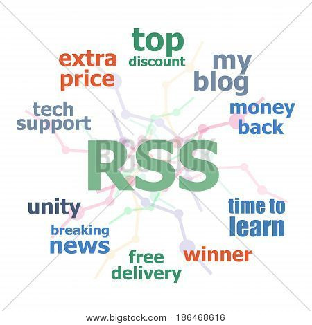 Text Rss. Web Design Concept . Word Cloud Collage. Background With Lines And Circles