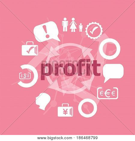 Text Profit. Business Concept . Set Of Flat Icons For Mobile App And Web