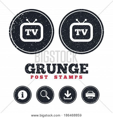 Grunge post stamps. Retro TV sign icon. Television set symbol. Information, download and printer signs. Aged texture web buttons. Vector