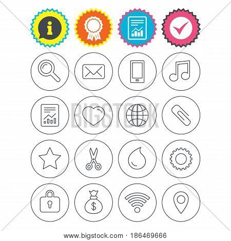 Report, information and award signs. Universal icons. Smartphone, mail and musical note. Heart, globe and share symbols. Paperclip, scissors and water drop. Check tick symbol. Flat buttons. Vector