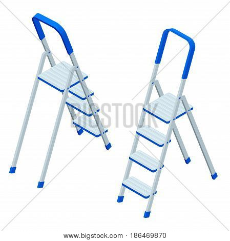 Isometric vector stepladder isolated on white. Aluminum Ladder for workers, painters, engineers, repairman