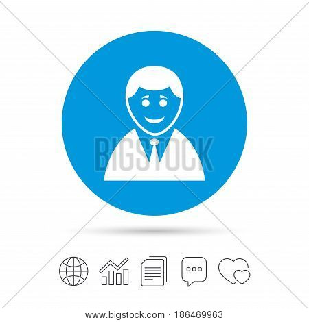 User sign icon. Person symbol. Human in suit avatar. Copy files, chat speech bubble and chart web icons. Vector