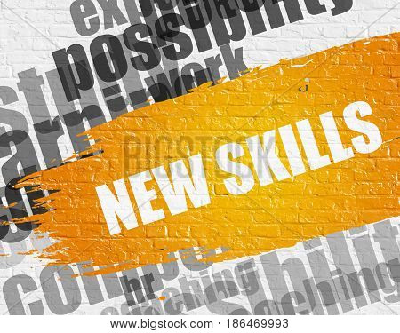 Business Education Concept: New Skills Modern Style Illustration on the Yellow Paintbrush Stripe. New Skills. Yellow Inscription on the White Brickwall.