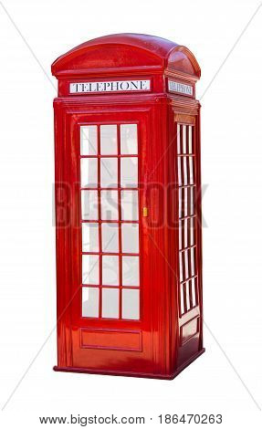 Red telephone box on white isolated background