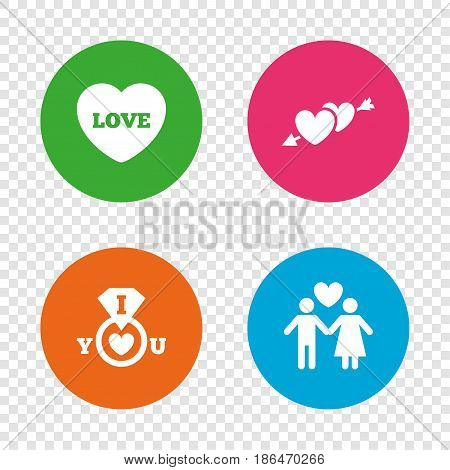 Valentine day love icons. I love you ring symbol. Couple lovers sign. Round buttons on transparent background. Vector