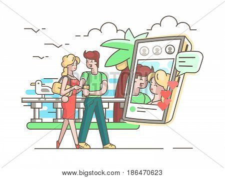 Young couple in love with phone. Romantic correspondence vector illustration