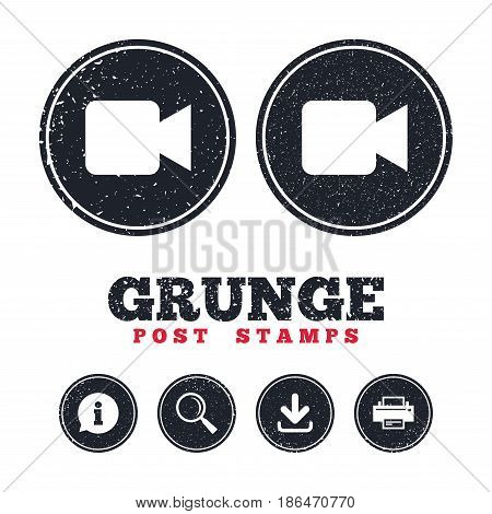 Grunge post stamps. Video camera sign icon. Video content button. Information, download and printer signs. Aged texture web buttons. Vector