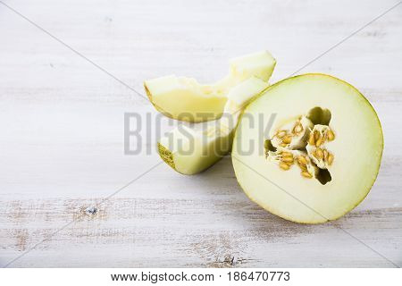 Melon On A Wooden Table