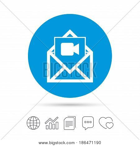 Video mail icon. Video camera symbol. Message sign. Copy files, chat speech bubble and chart web icons. Vector