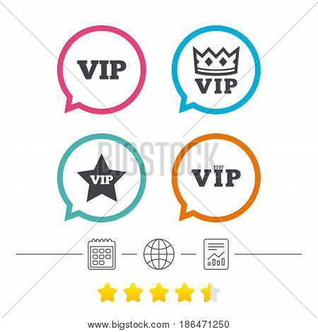 VIP icons. Very important person symbols. King crown and star signs. Calendar, internet globe and report linear icons. Star vote ranking. Vector