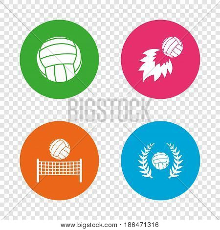 Volleyball and net icons. Winner award laurel wreath symbols. Fireball and beach sport symbol. Round buttons on transparent background. Vector