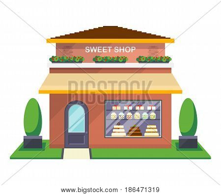 Sweet shop facade isolated on white background vector illustration. Candy store building with showcase, city architecture element in flat design.