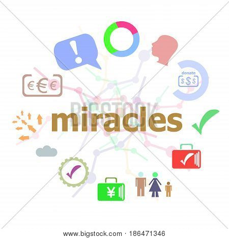 Text Miracles. Business Concept . Set Of Line Icons And Word Typography On Background