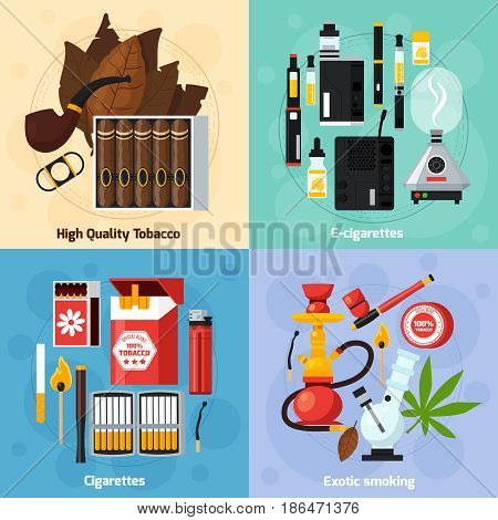 Smoking 2x2 design concept of exotic smoking usual and electronic cigarettes high quality tabasco flat compositions  vector illustration