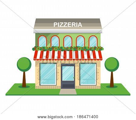 Pizzeria facade isolated on white background vector illustration. Fast food retail building with showcase, city architecture element in flat design.