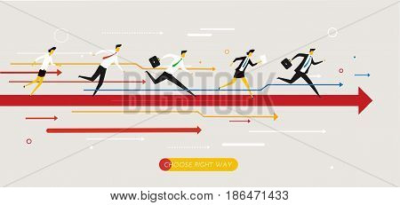 Businessmans runs forward to success. growth charts. Vector illustration Eps10 file. Success, rates