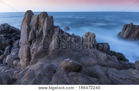 Rocky Coastline At Twilight - Monterey Bay, California
