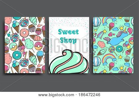 Poster vector template with candy. Advertising for bakery shop or cafe. Sweet candy background.