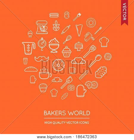 Vector Set of Bakery Modern Flat Thin Icons Inscribed in Round Shape