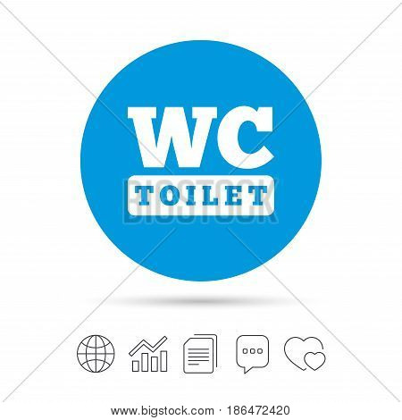 WC Toilet sign icon. Restroom or lavatory symbol. Copy files, chat speech bubble and chart web icons. Vector