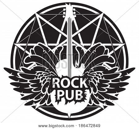 vector banner for rock pub with an acoustic guitar and wings on the background of star