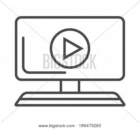 Online news on computer screen icon vector illustration isolated on white background. Social media and world news, network communication, mass media linear pictogram.