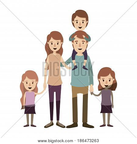 light color shading caricature big family parents with boy on his back and daugthers taken hands vector illustration