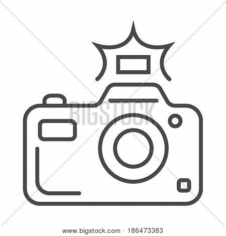 Professional photo camera icon vector illustration isolated on white background. Social media and world news, network communication, mass media linear pictogram.